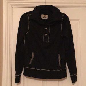 Nappytabs Black 3/4 Button-Up Collared Sweatshirt